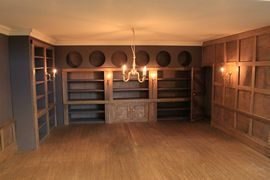 Bespoke Georgian Draper's Shop panelled interior with shelves and special storage for cloth.