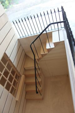 Bespoke Regency dolls house Eaton Square steps and iron railings leading to the front area.
