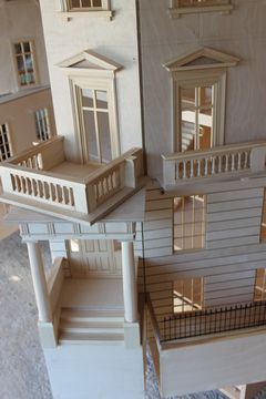 Bespoke Regency dolls house Eaton Square hinged front and area.