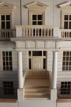Bespoke Regency dolls house Eaton Square grand portico and handmade front door.