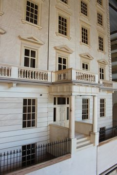 Bespoke Regency dolls house Eaton Square angled view.