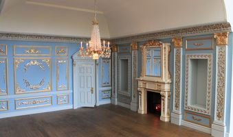 Bespoke grand 1920s dolls house hotel fireplace and niches in the Louis XIV apartment.