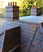 Bespoke Queen Anne style dolls house chimneys and weathered roof tiles.