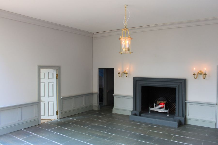 Bespoke Georgian dolls house:Longbourn from the BBC series Pride and Prejudice Entrance Hall with fireplace.