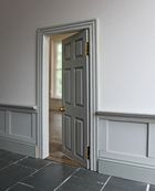 Bespoke Georgian dolls house interior door with side-mounted hinges.