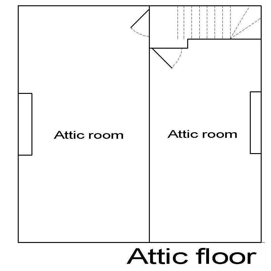 Georgian dolls house attic floor plan.