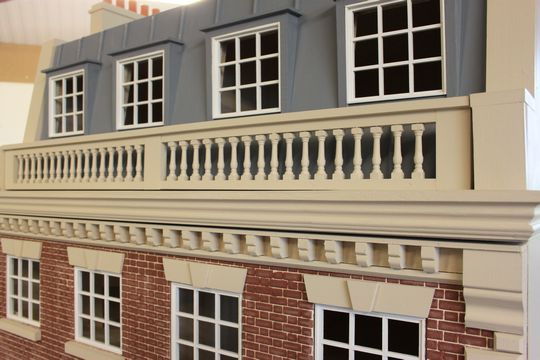Regency dolls house: brick fronted Kensington House with Mansard roof.