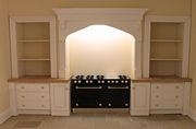 Dolls house contemporary 'designer' style kitchen with inglenook arch for range cooker.