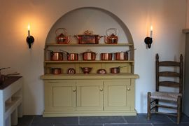 Regency dolls house kitchen dresser with copper pans