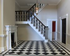 Regency dolls house marbled staircase with metal splats.