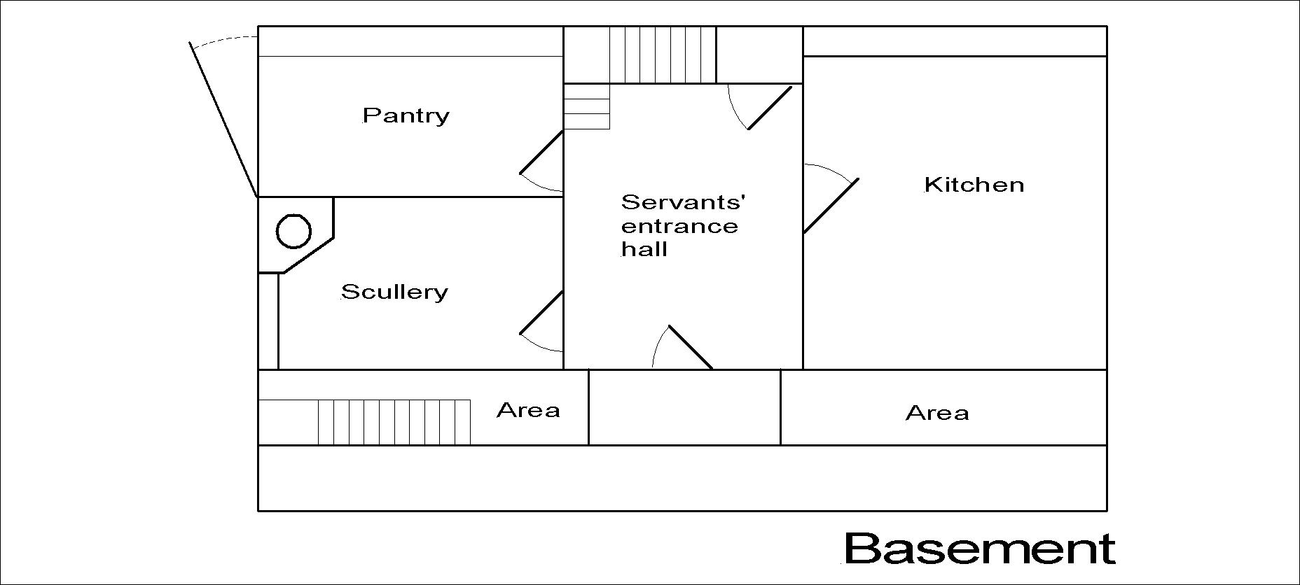 Georgian dolls house basement floor plan.