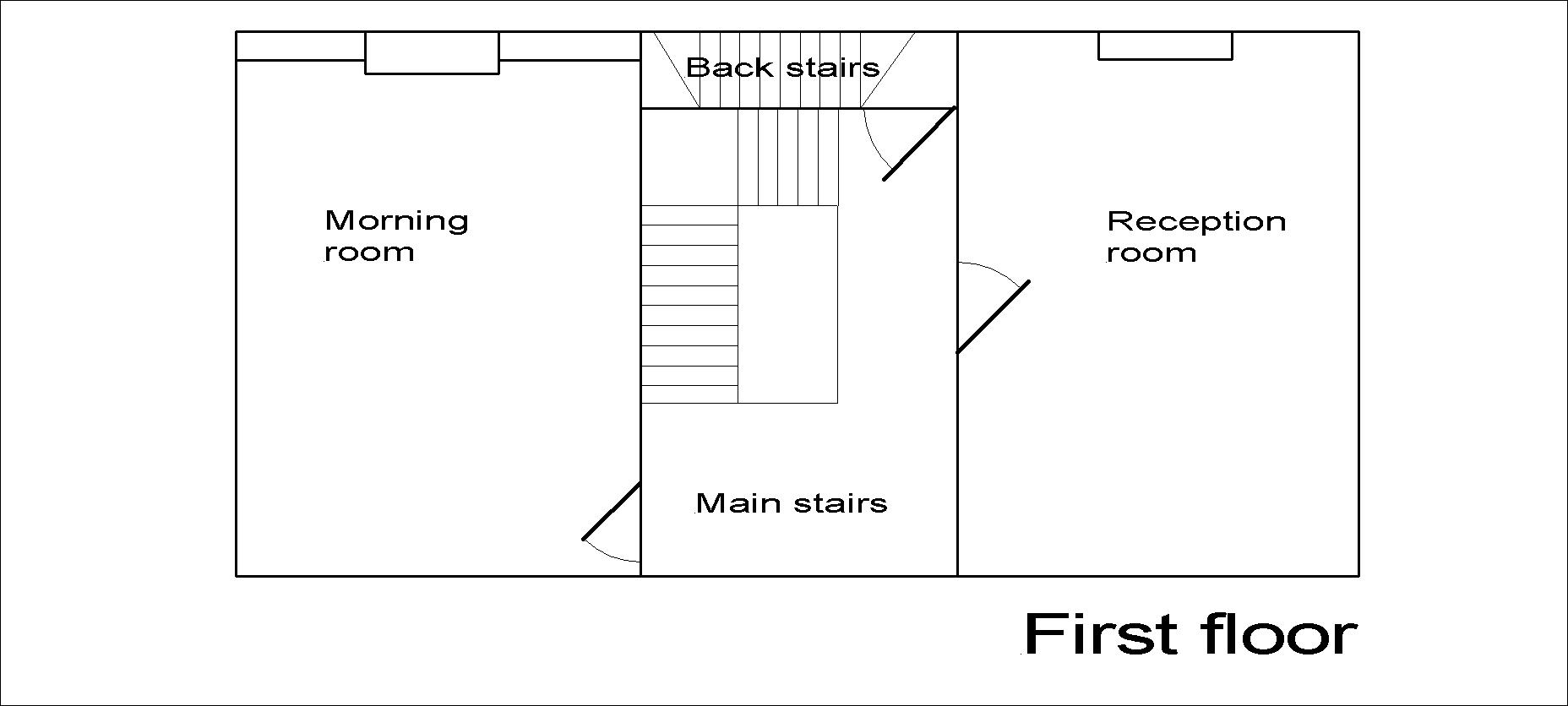 Georgian dolls house first floor plan.