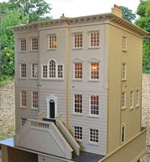 Georgian dolls house: Wisbech House rear with Venetian window and lift-off steps.