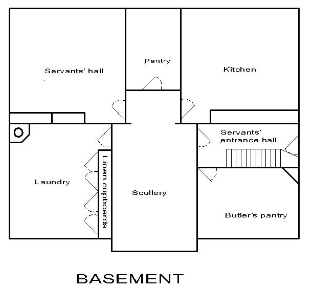 Georgian dolls house: basement floor plan.