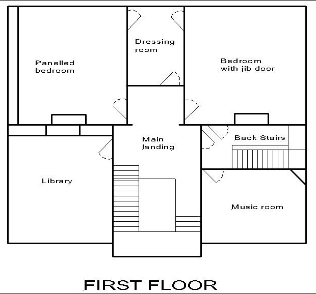 Georgian dolls house: first floor plan.