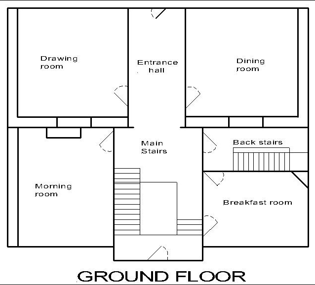 Georgian dolls house: ground floor plan.