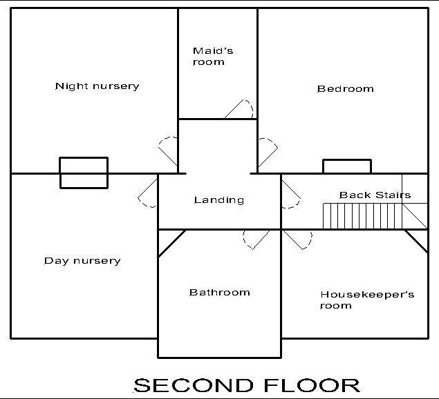 Georgian dolls house: second floor plan.