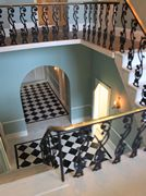 Georgian dolls house: Wisbech House main staircase from half landing.